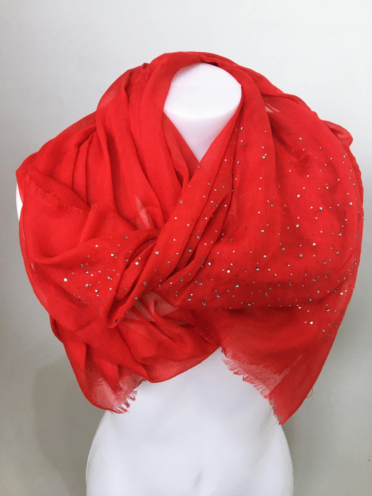 Šátek s kamínky červený 01
