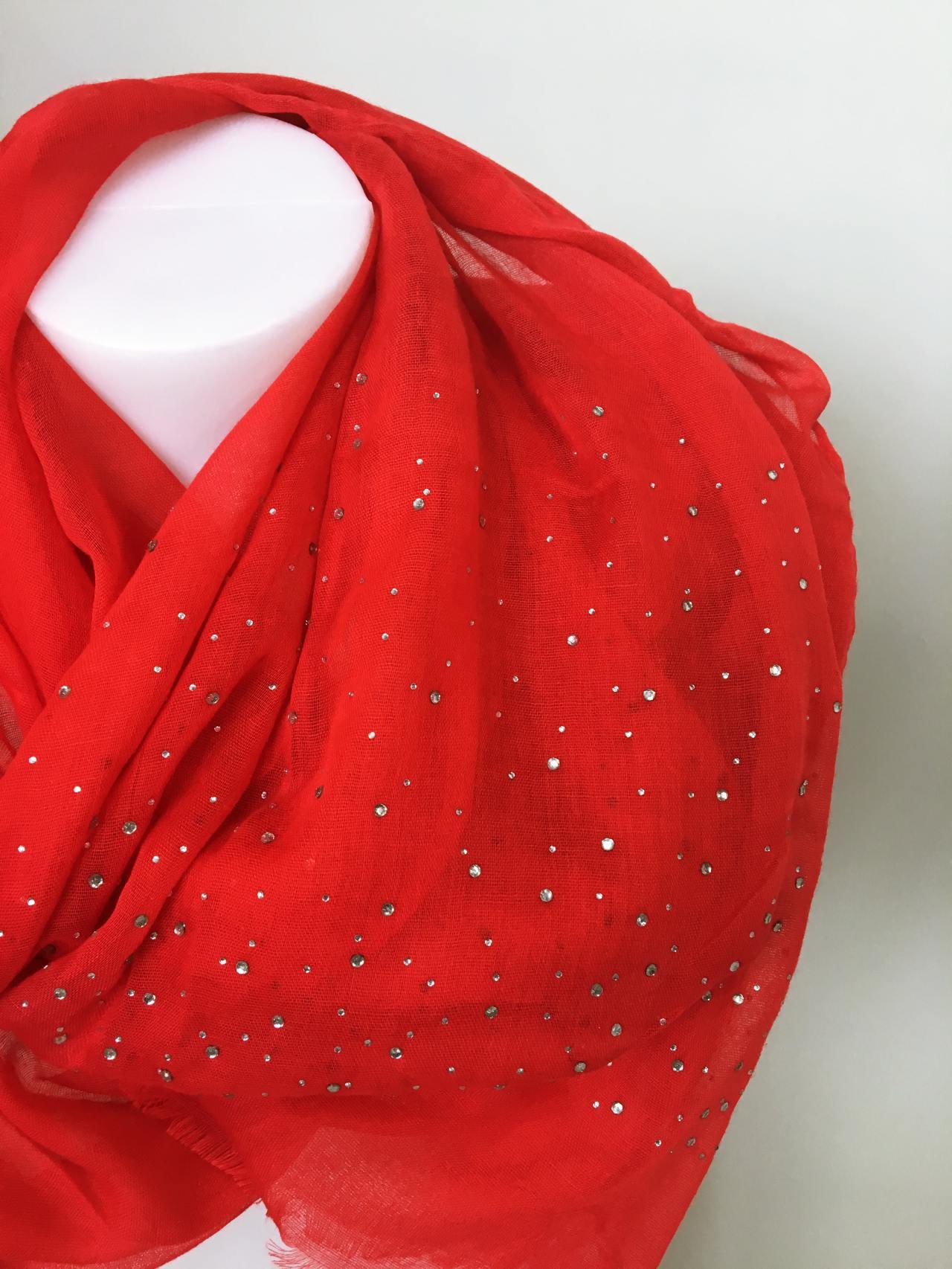 Šátek s kamínky červený 02