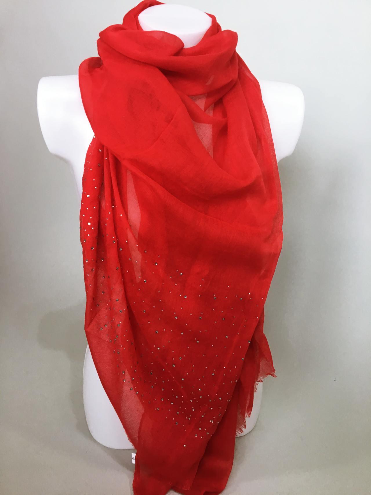 Šátek s kamínky červený 03
