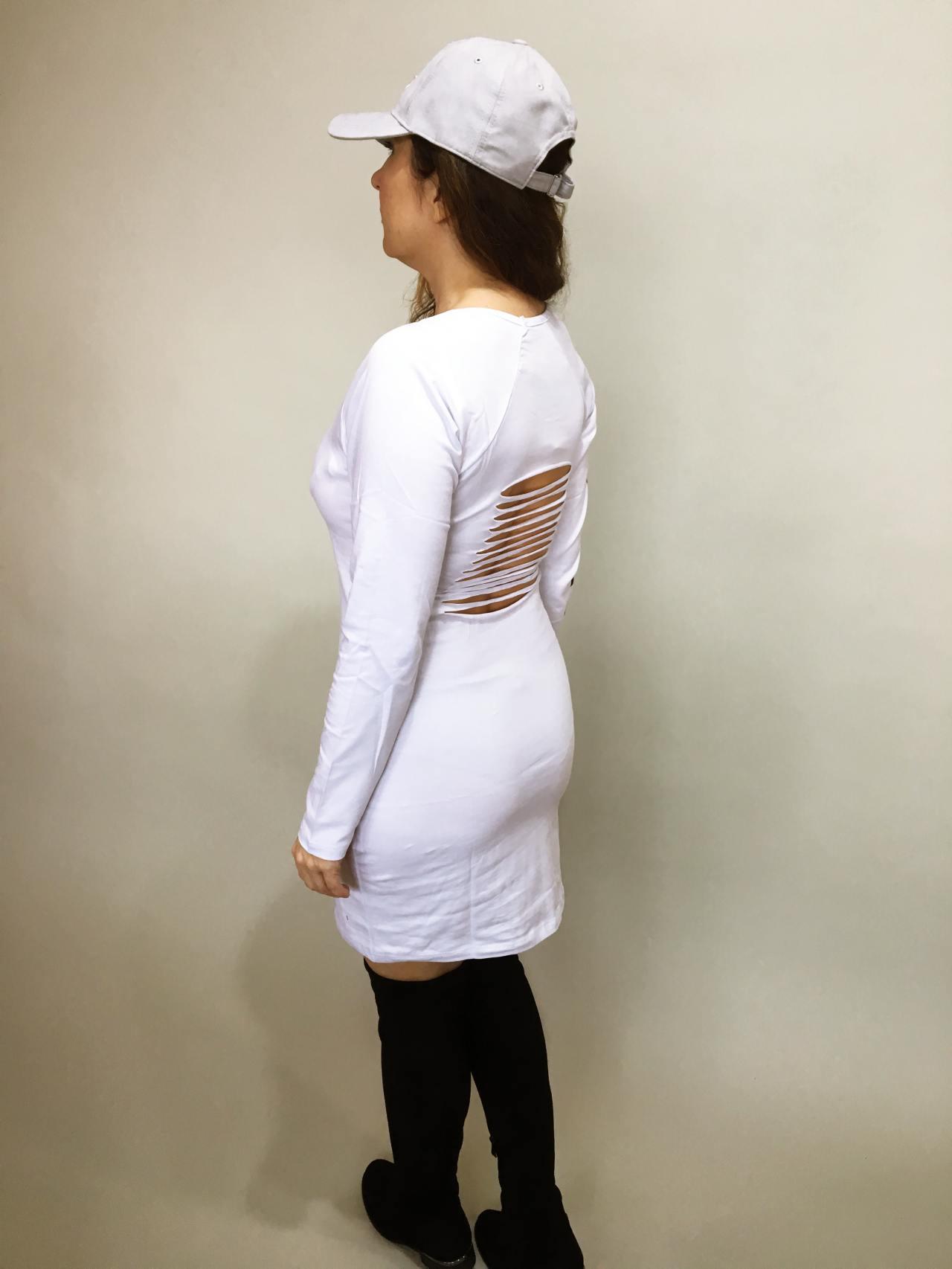 Šaty Bagged bílé 03