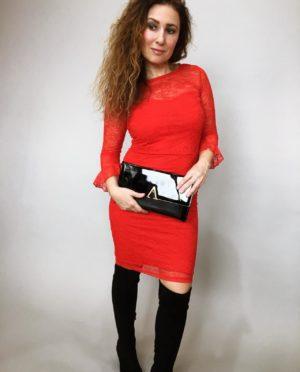Šaty krajkové červené 07