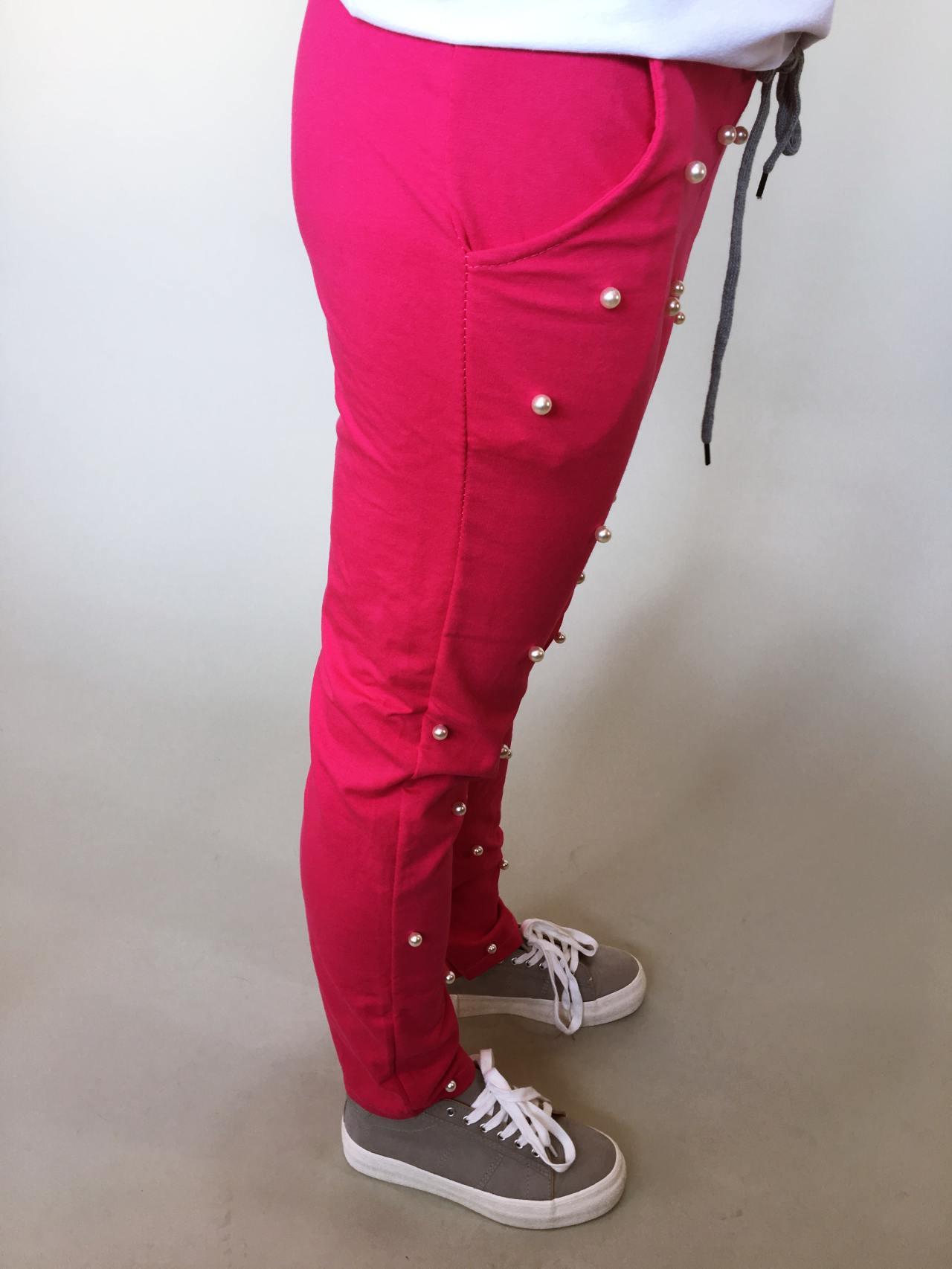 Tepláky Pearls růžové 02