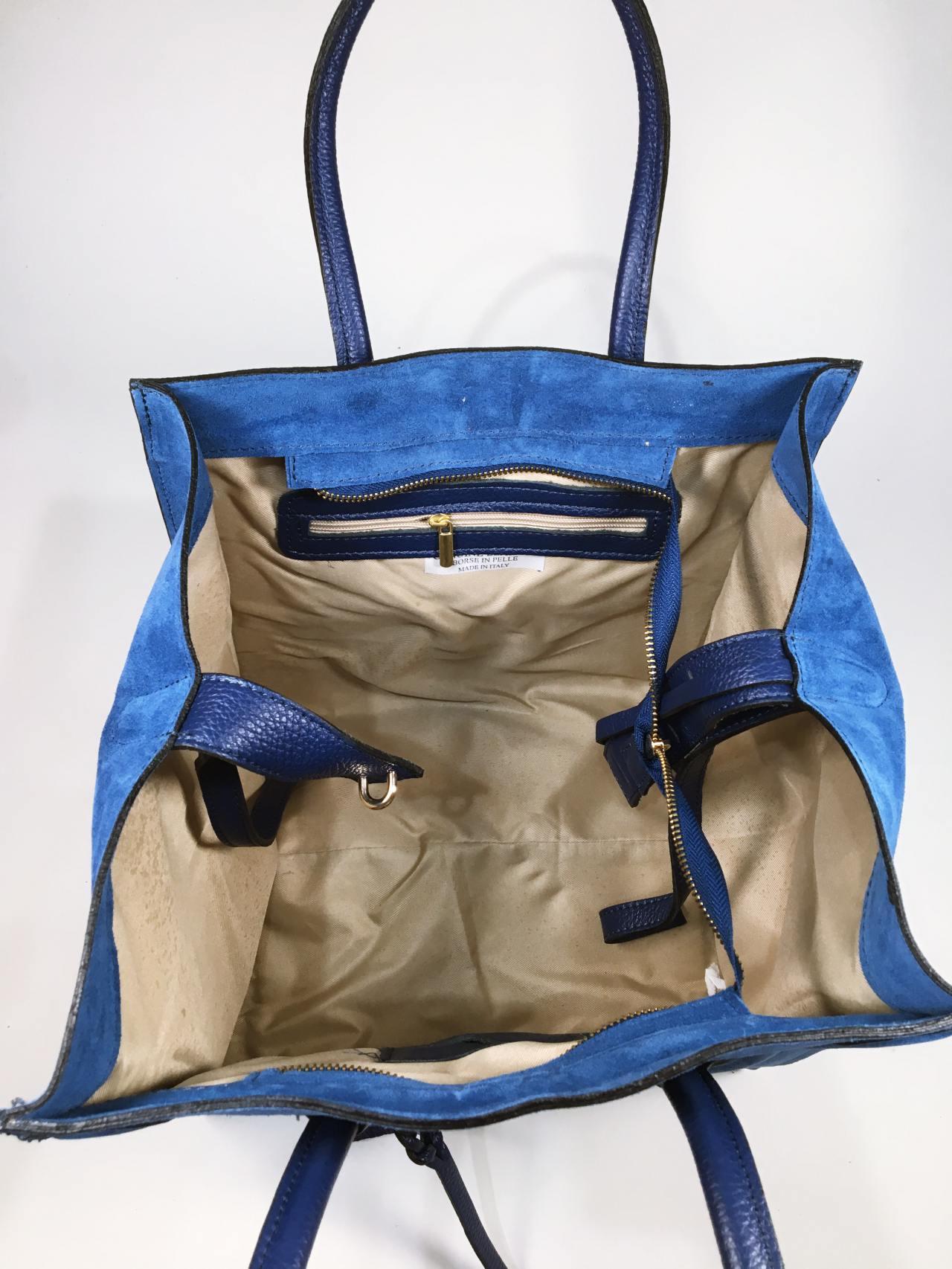 Kožená kabelka Candy modrá 04
