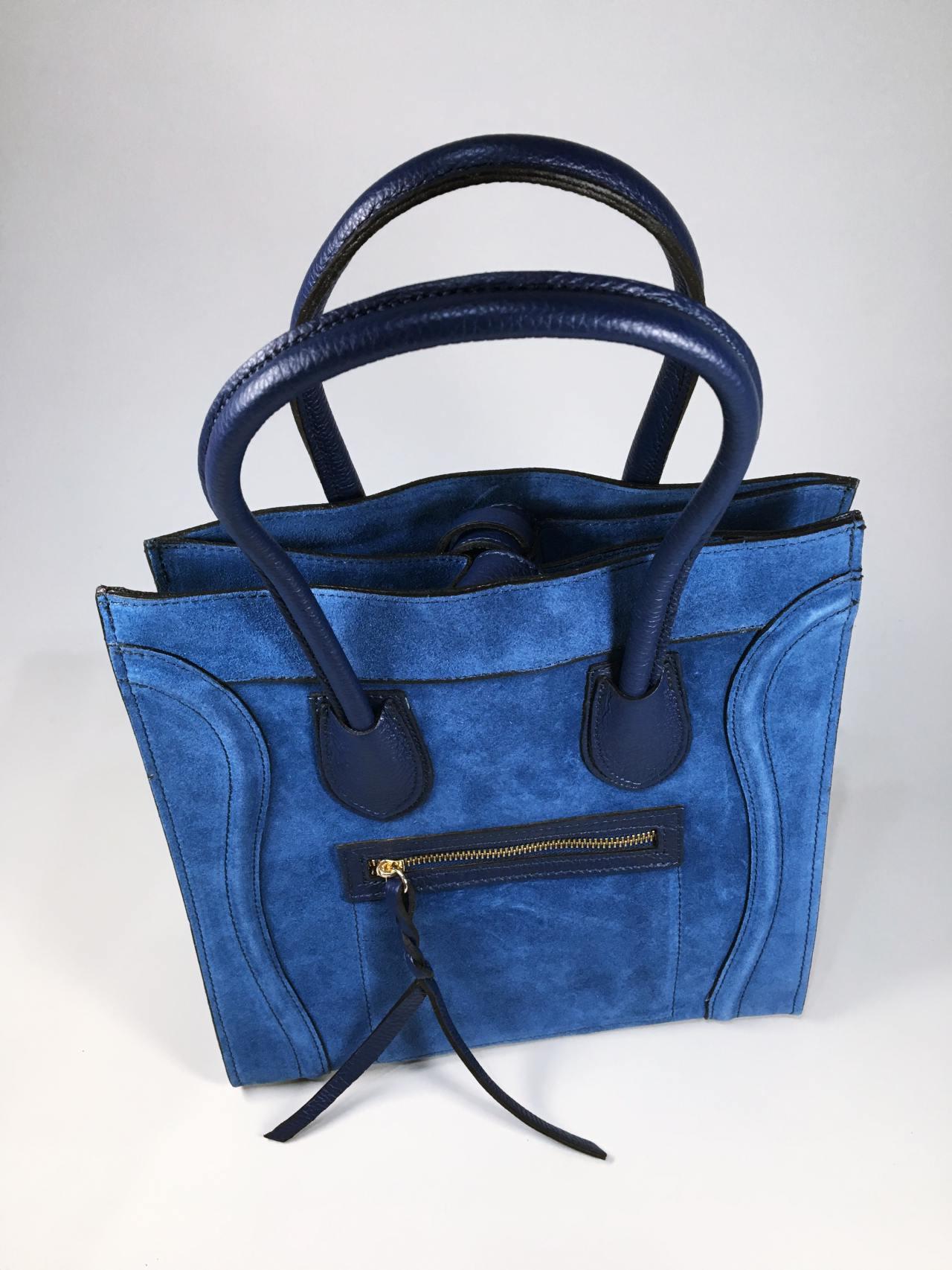 Kožená kabelka Candy modrá 05