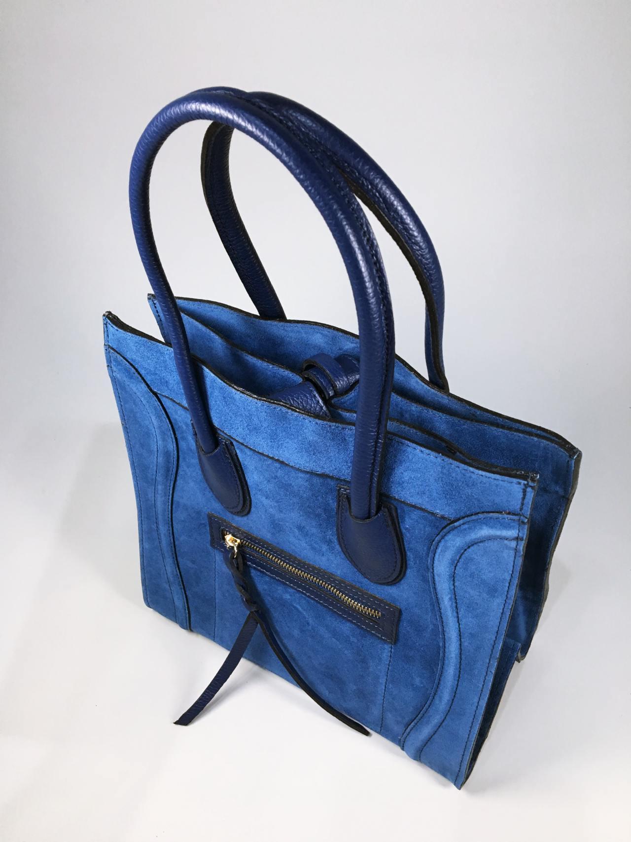 Kožená kabelka Candy modrá 06