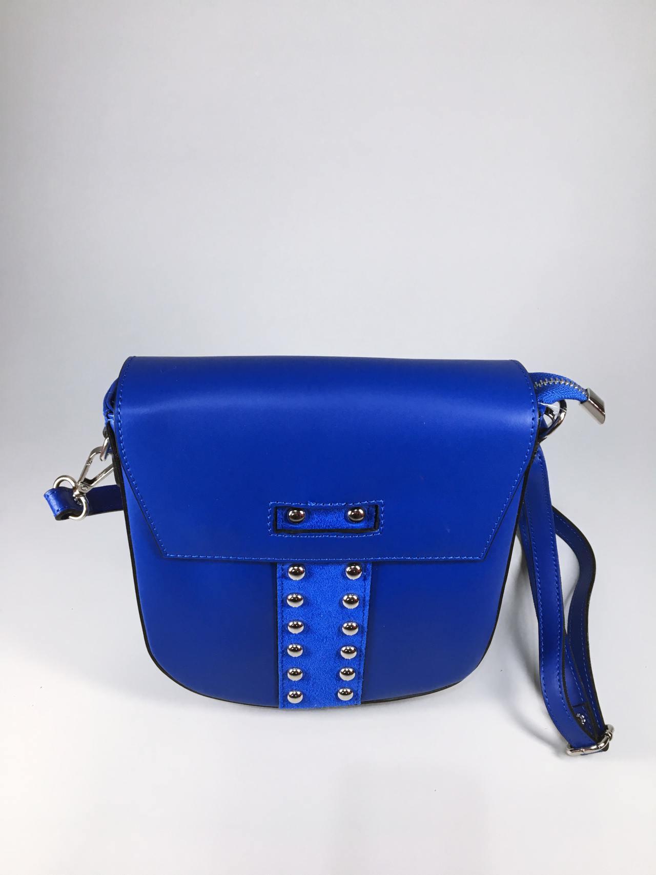 Kožená kabelka Karra modrá 01