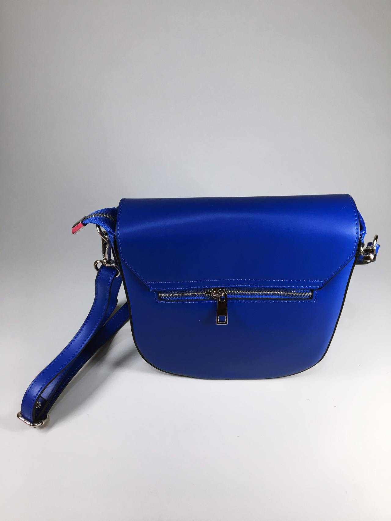 Kožená kabelka Karra modrá 02