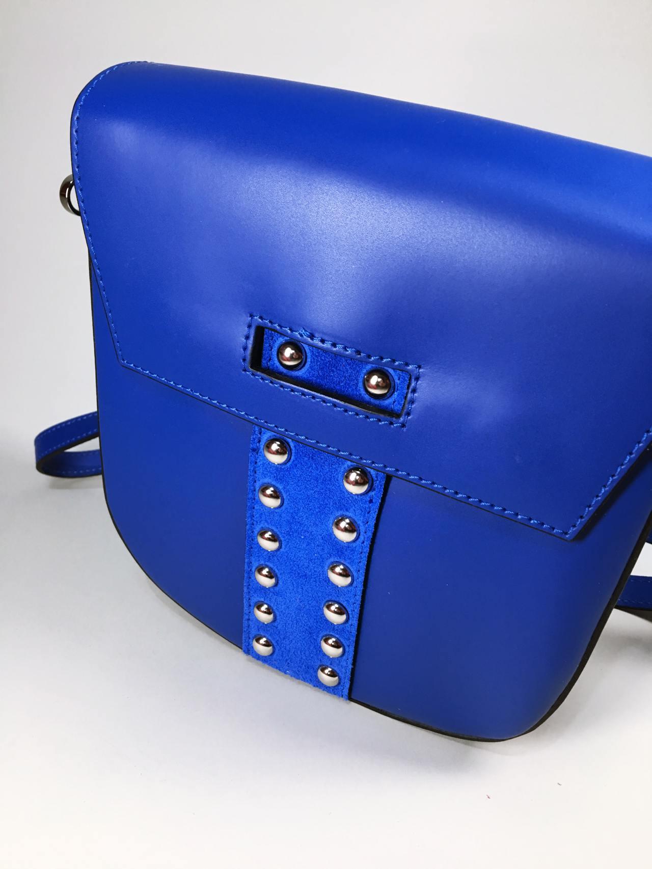 Kožená kabelka Karra modrá 03
