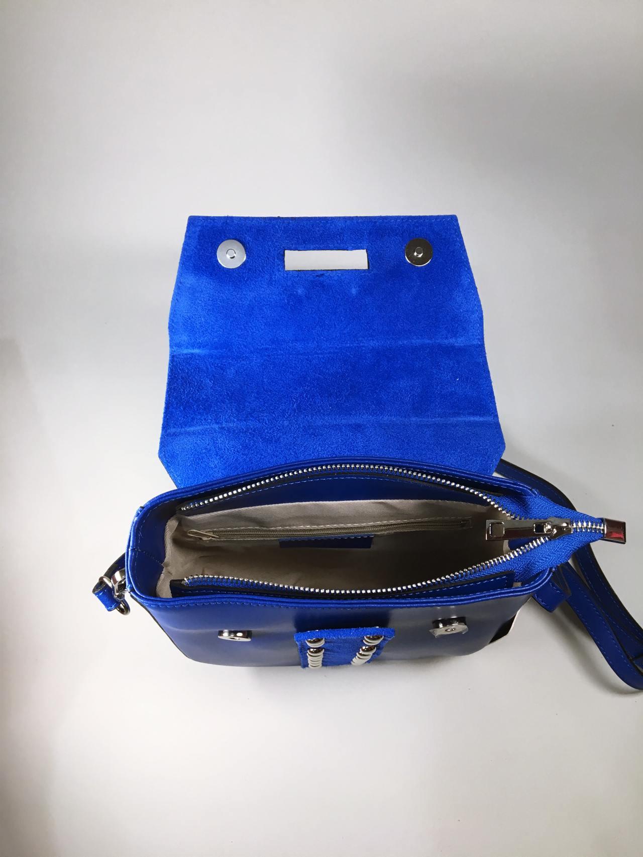 Kožená kabelka Karra modrá 04