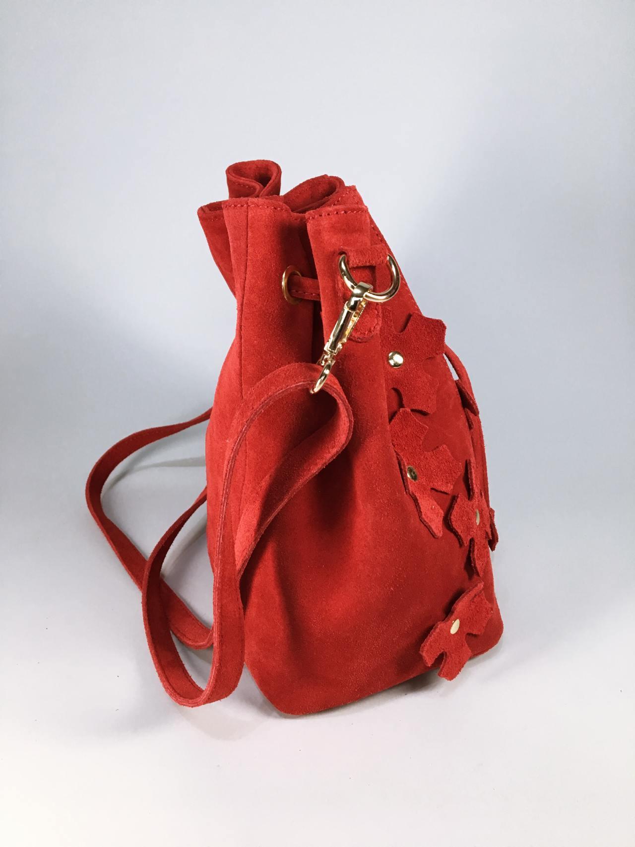 Kožená kabelka Lorra červená 02
