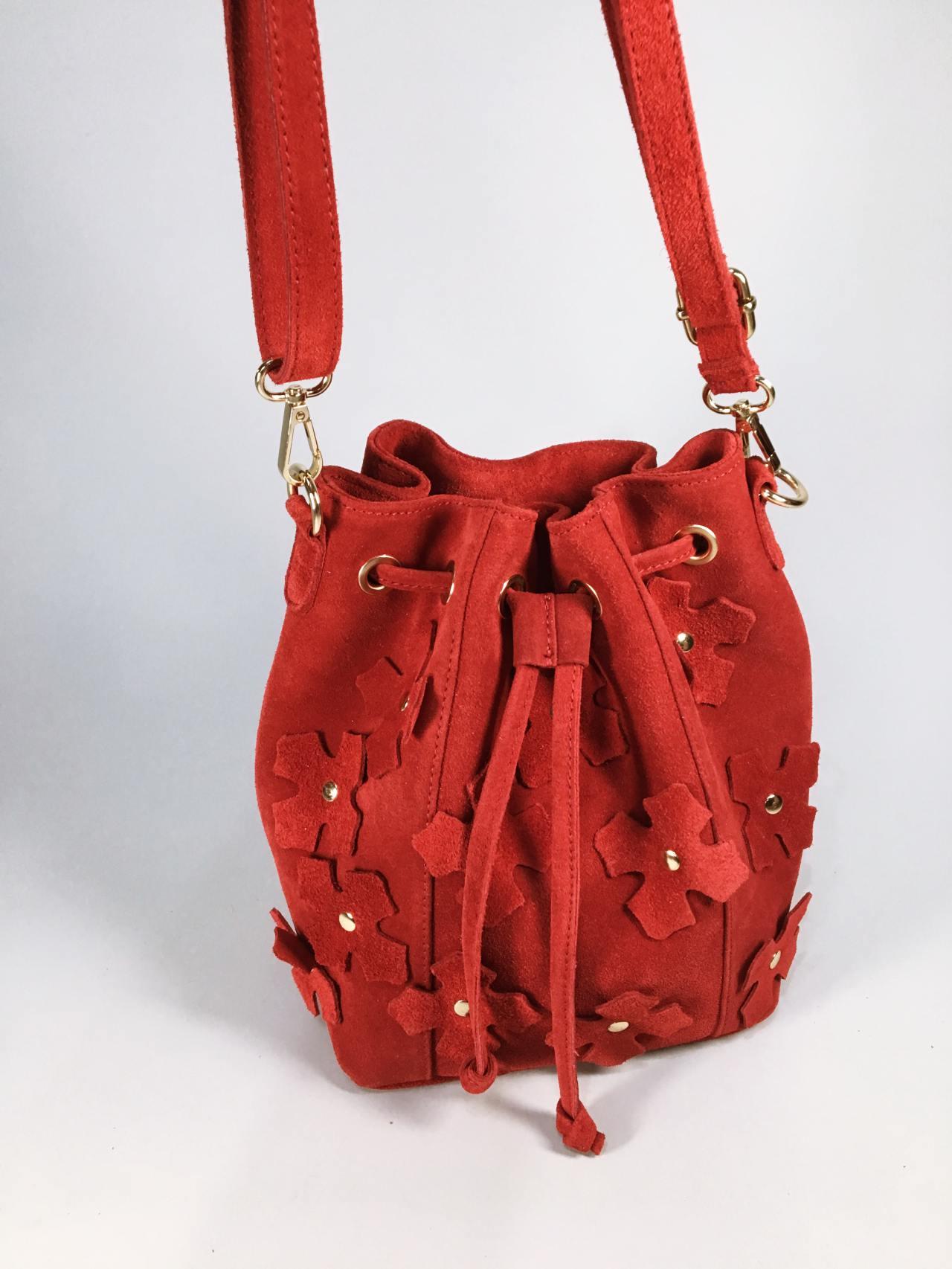 Kožená kabelka Lorra červená 04