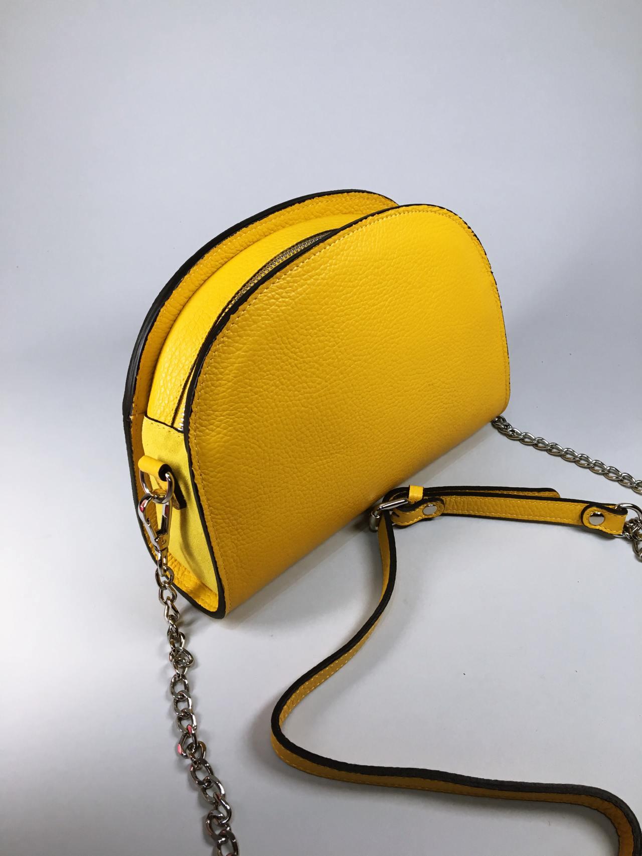 Kožená kabelka Sweet žlutá 03