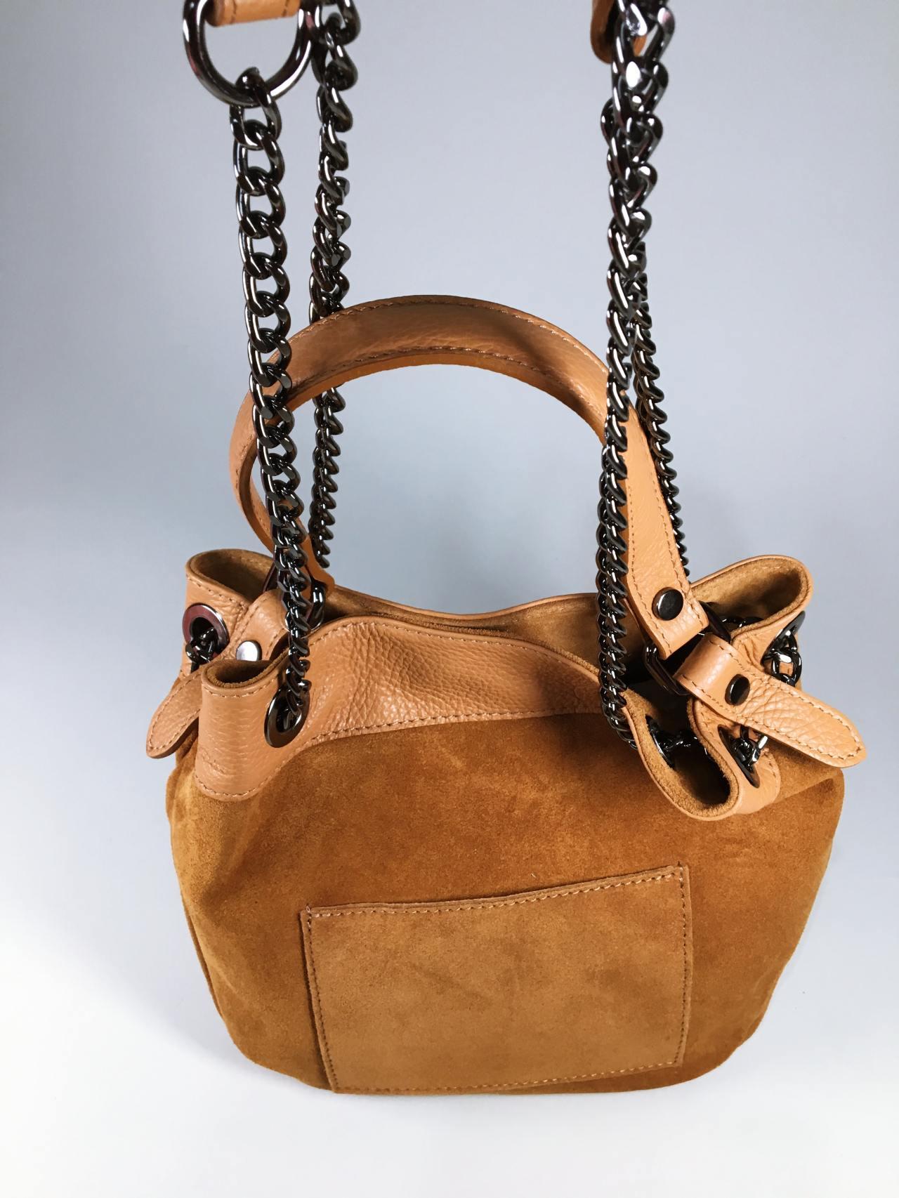 Kožená kabelka Tillie hnědá 02