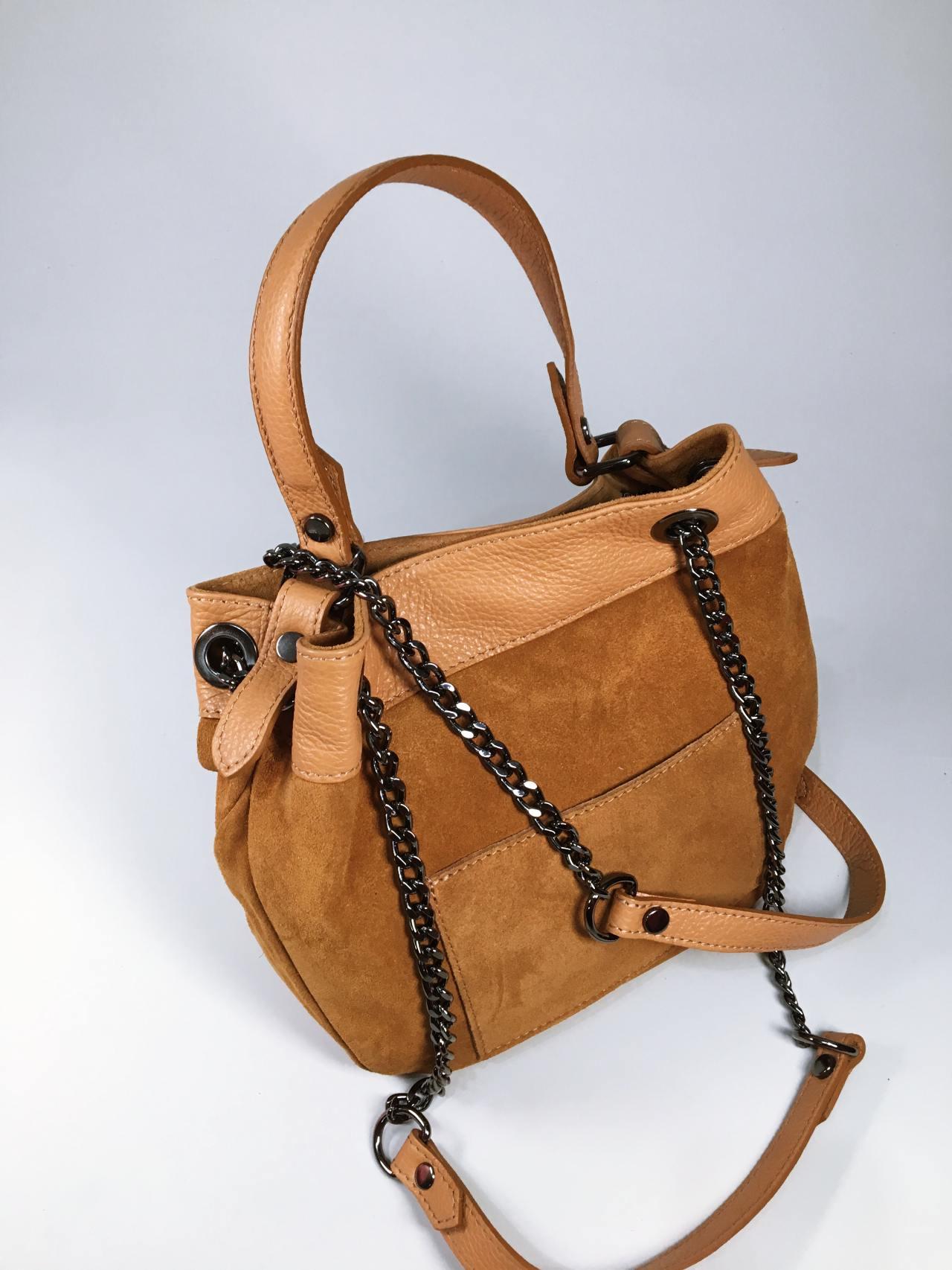 Kožená kabelka Tillie hnědá 03
