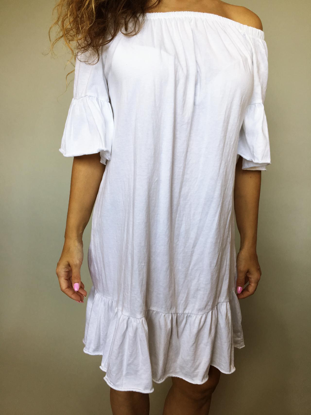 Šaty Frill bílé 02