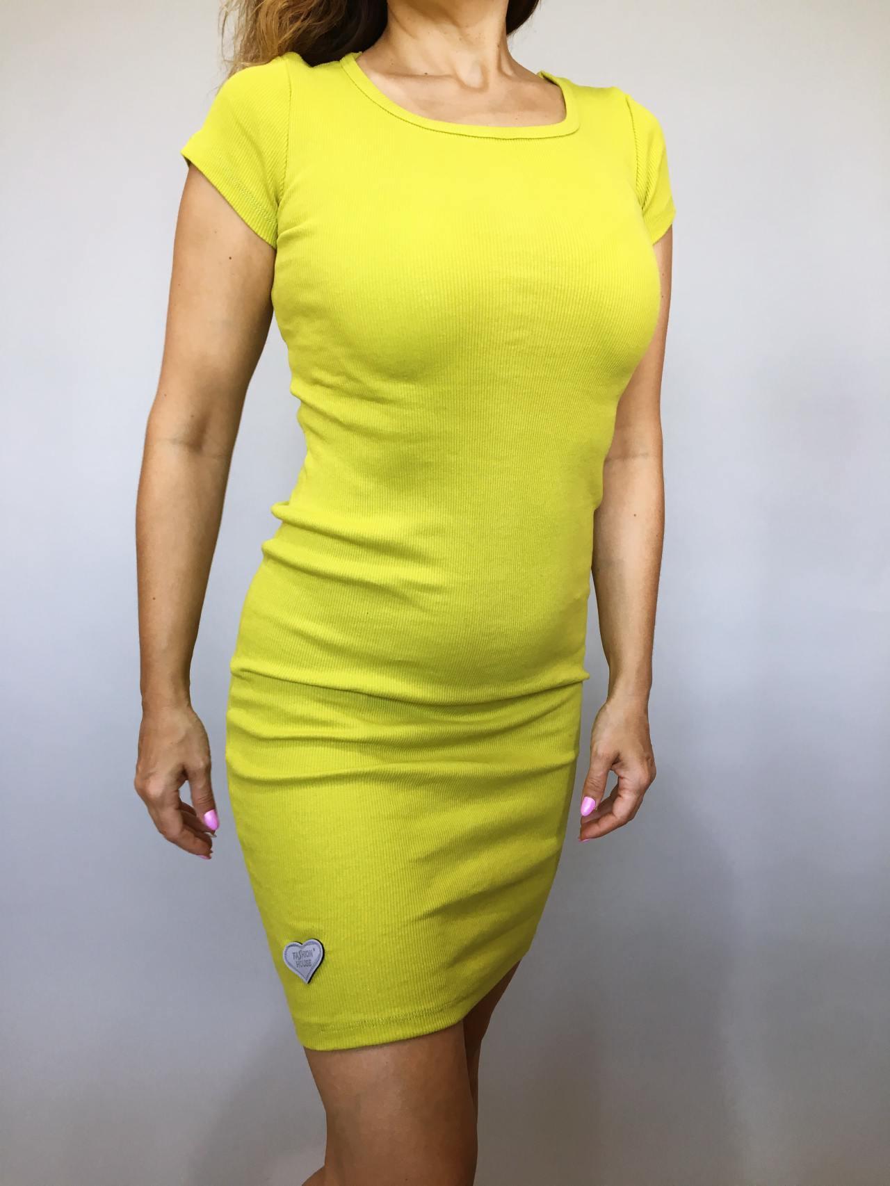 Šaty Jennifer žluté kari 02