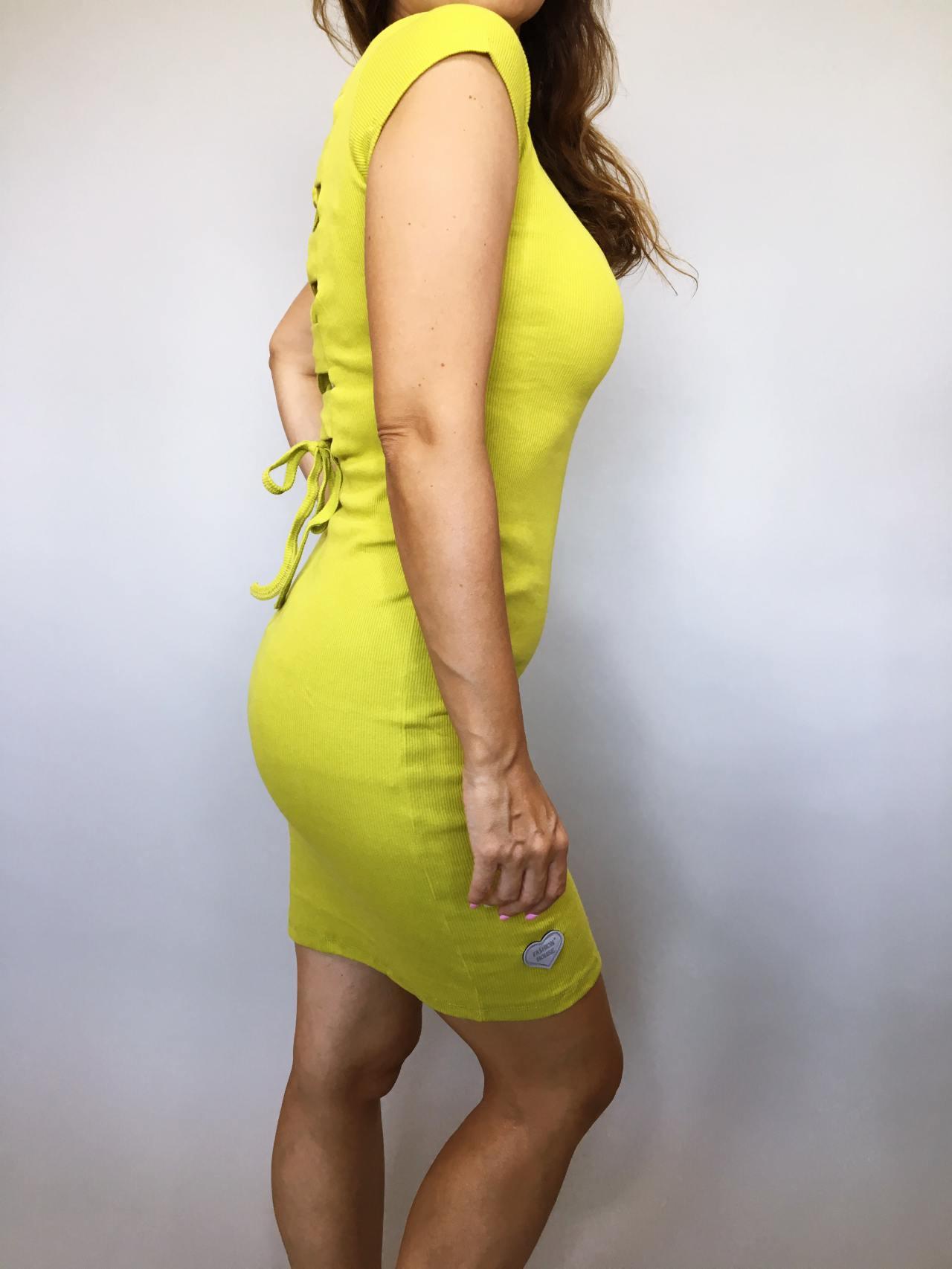 Šaty Jennifer žluté kari 03