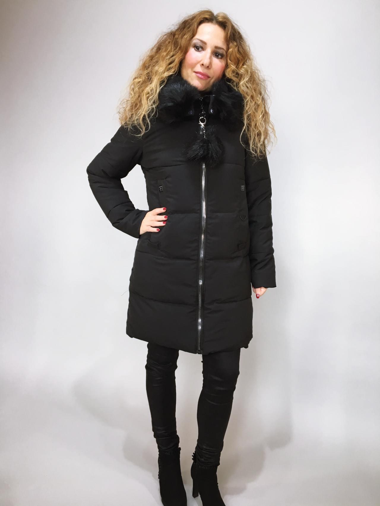 Zimní bunda s kožíškem černá 01