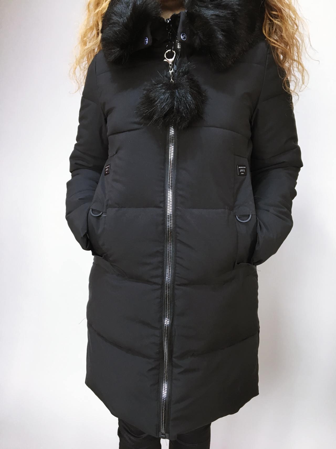 Zimní bunda s kožíškem černá 02