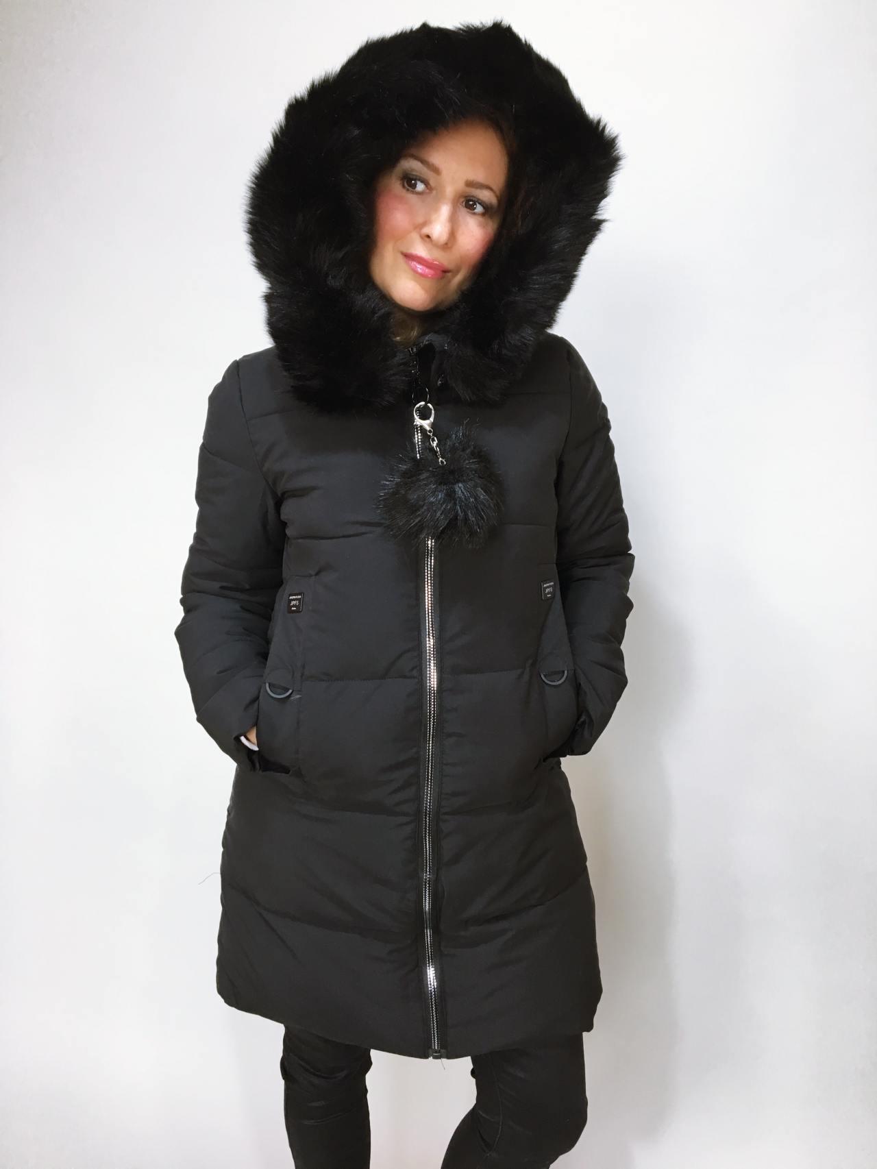 Zimní bunda s kožíškem černá 03