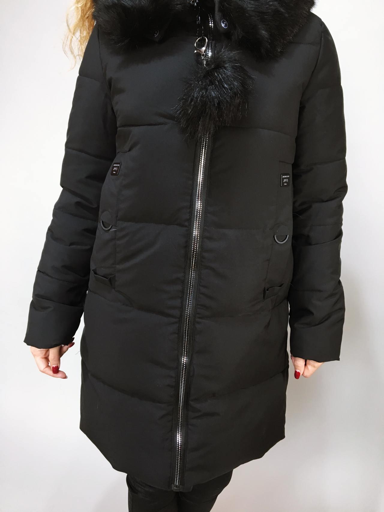 Zimní bunda s kožíškem černá 05