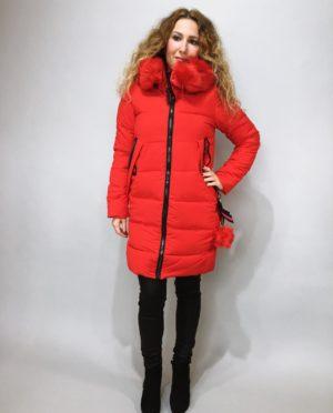 Zimní bunda s kožíškem červená 01