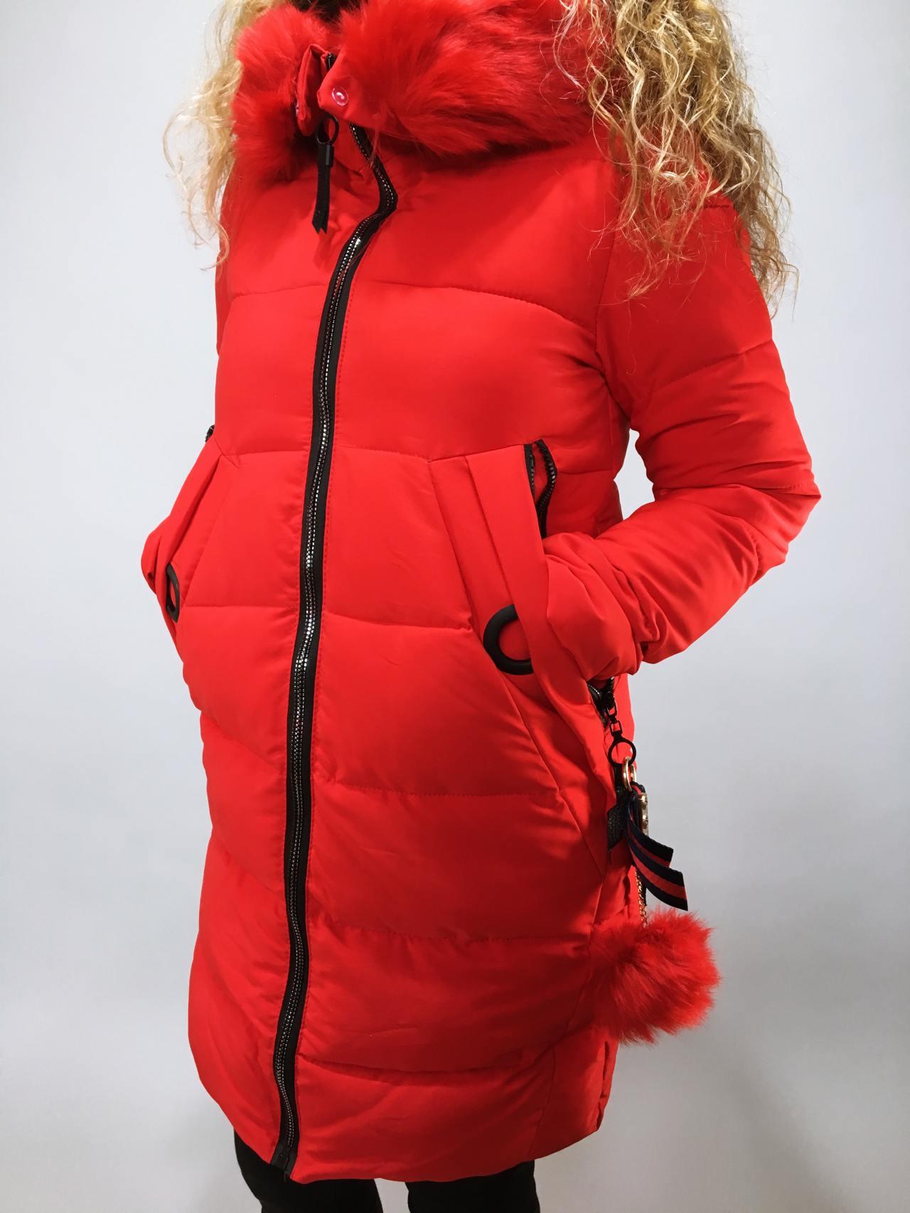 Zimní bunda s kožíškem červená 02