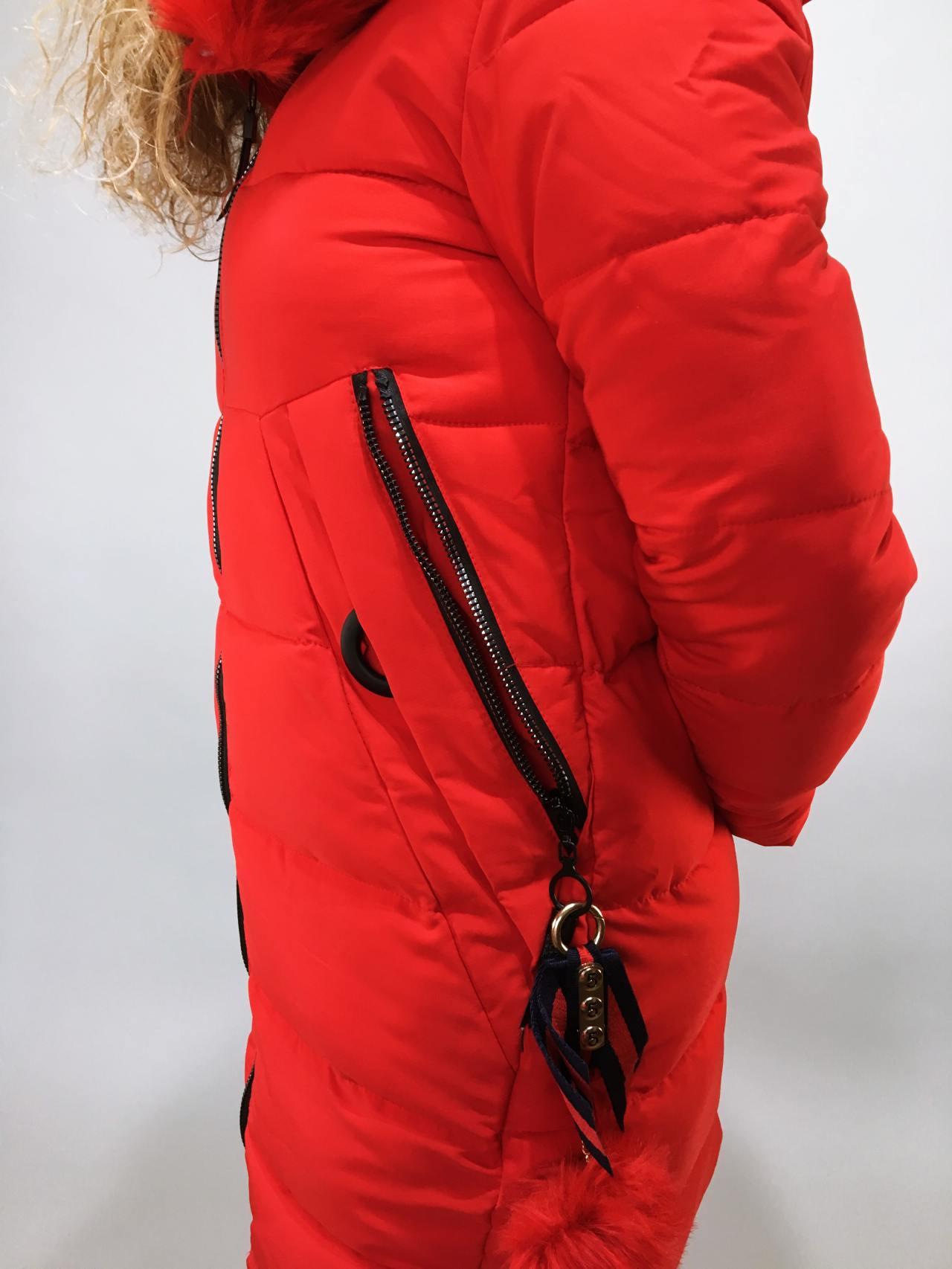 Zimní bunda s kožíškem červená 04