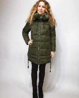 Zimní bunda s kožíškem khaki 01