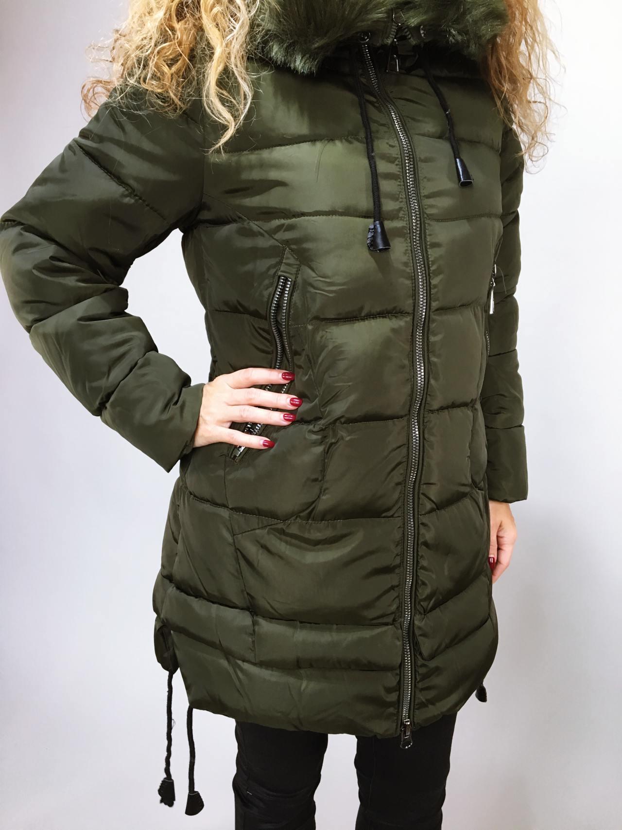 Zimní bunda s kožíškem khaki 02
