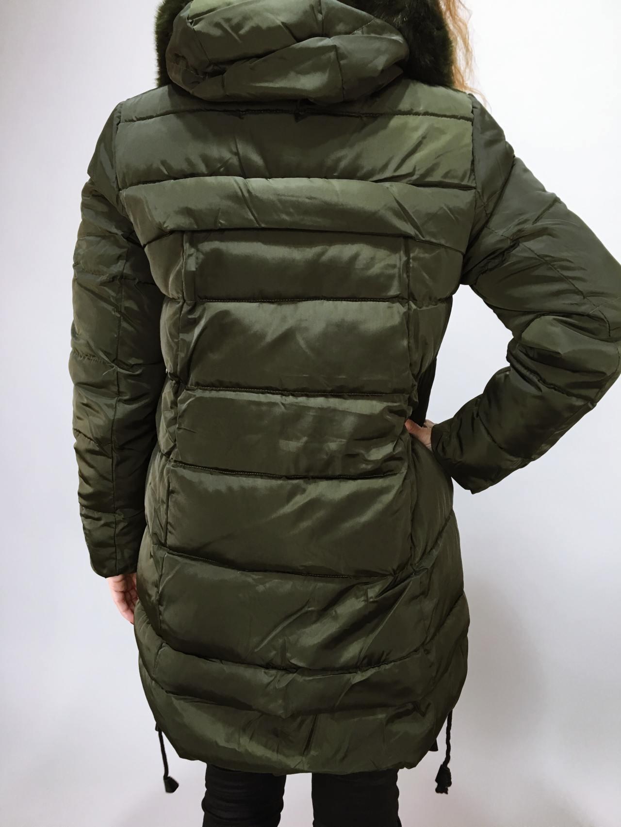 Zimní bunda s kožíškem khaki 04