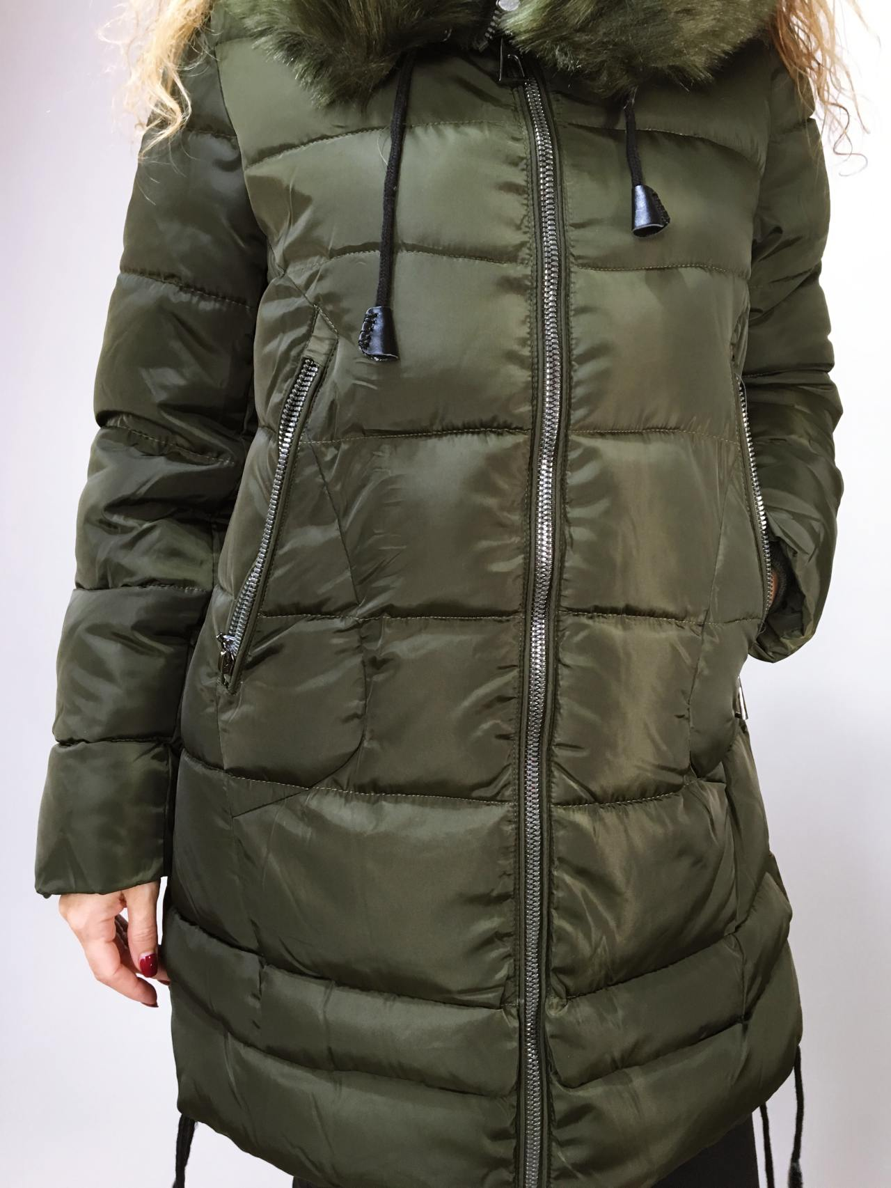 Zimní bunda s kožíškem khaki 05