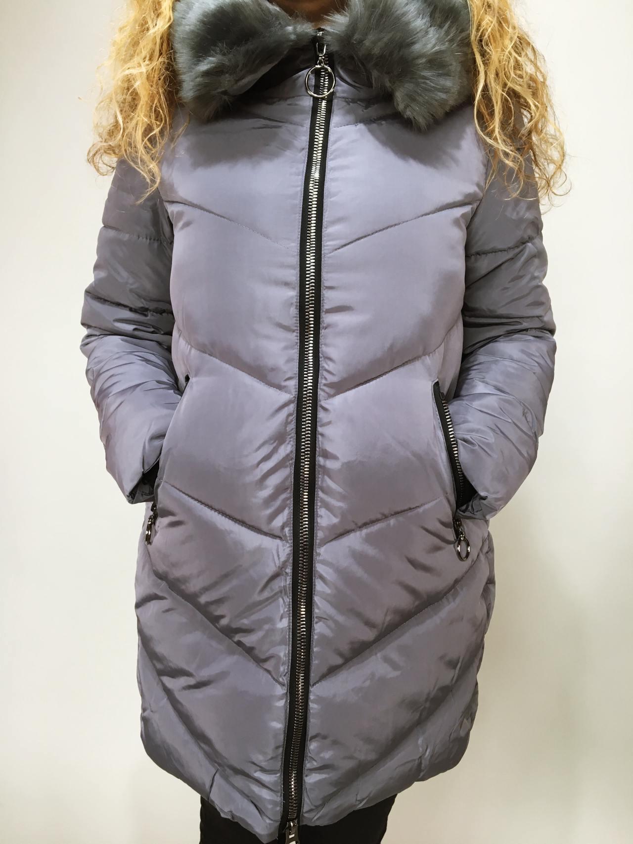 Zimní bunda s kožíškem šedá 01