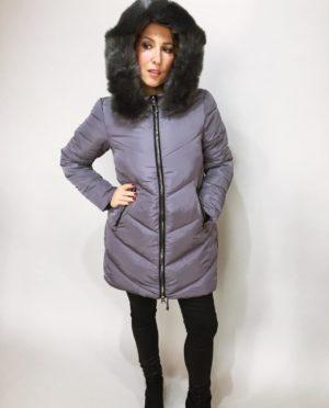 Zimní bunda s kožíškem šedá 02