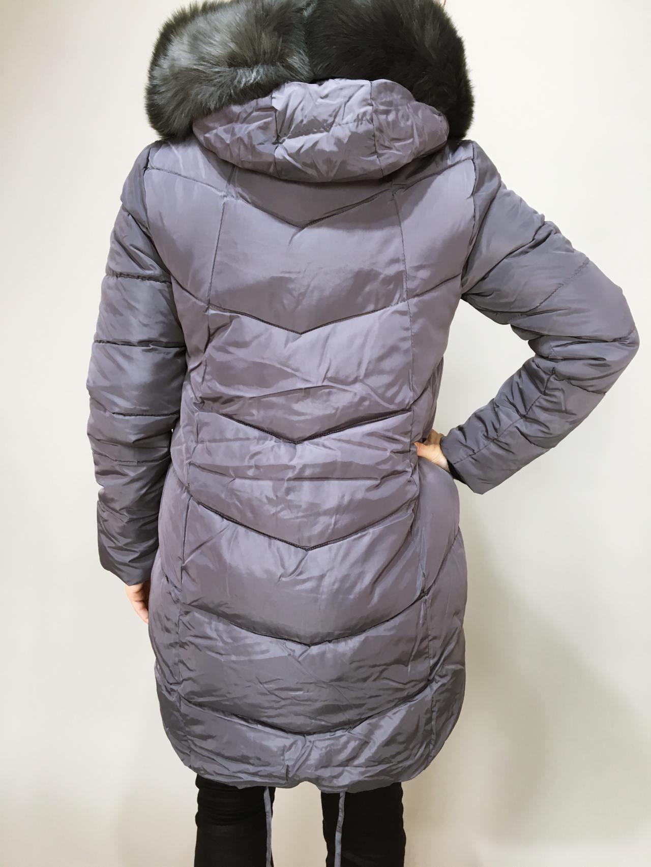 Zimní bunda s kožíškem šedá 03