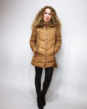 Zimní bunda s kožíškem zlatá 01