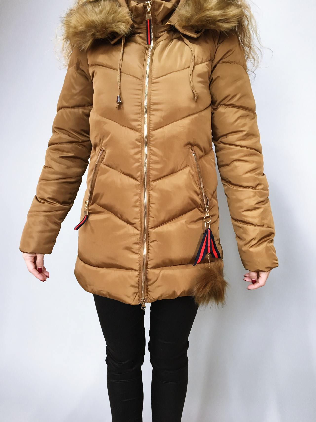 Zimní bunda s kožíškem zlatá 03