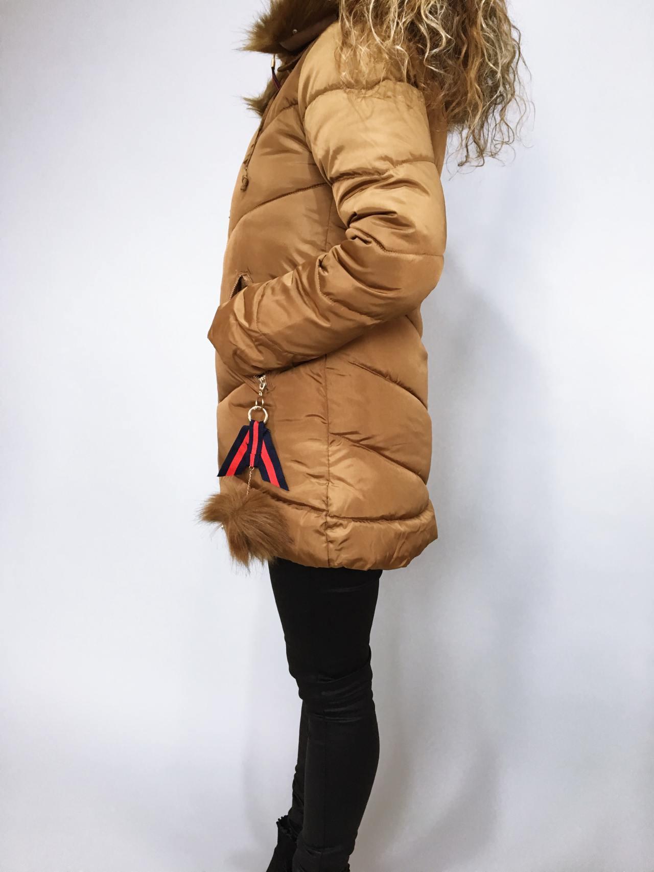 Zimní bunda s kožíškem zlatá 04