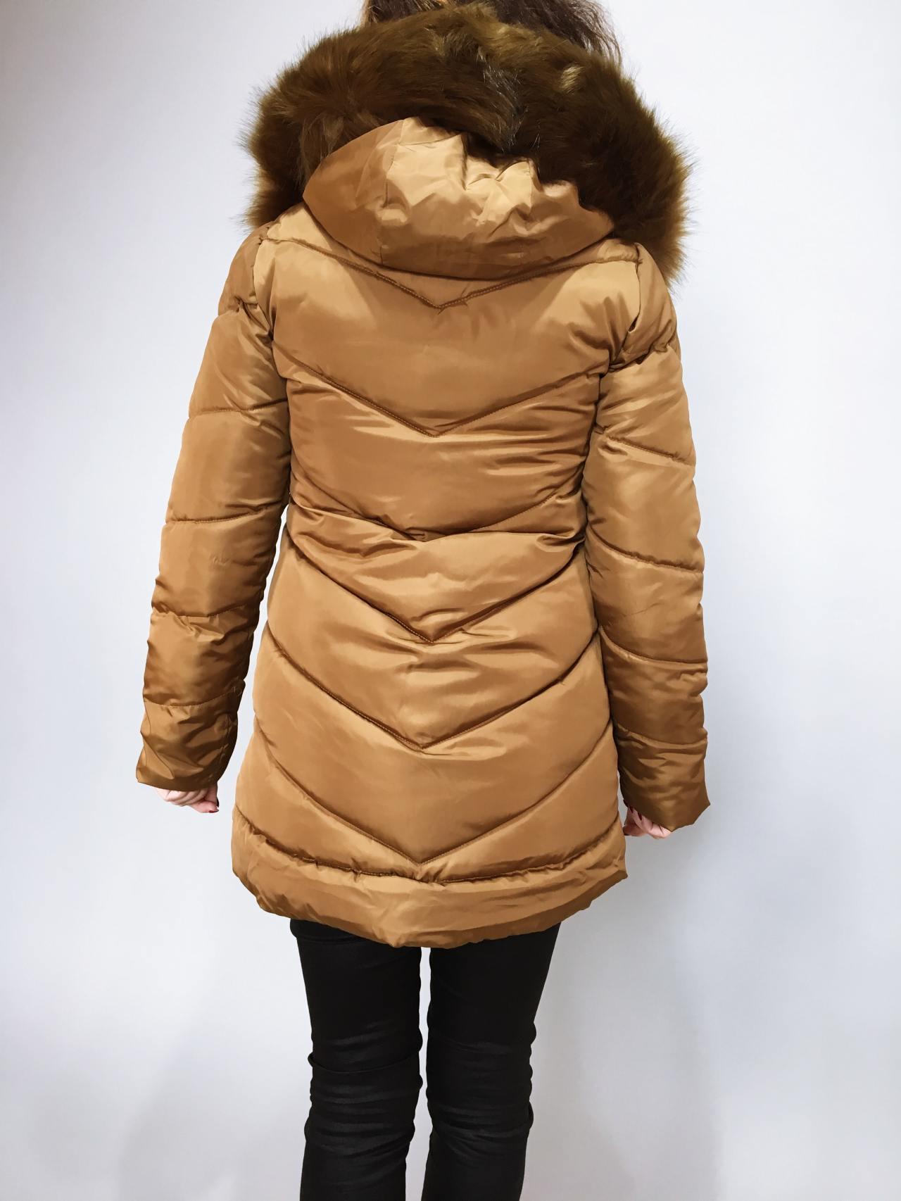 Zimní bunda s kožíškem zlatá 05