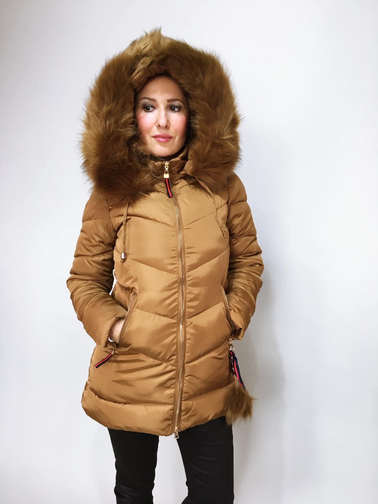 Zimní bunda s kožíškem zlatá 06