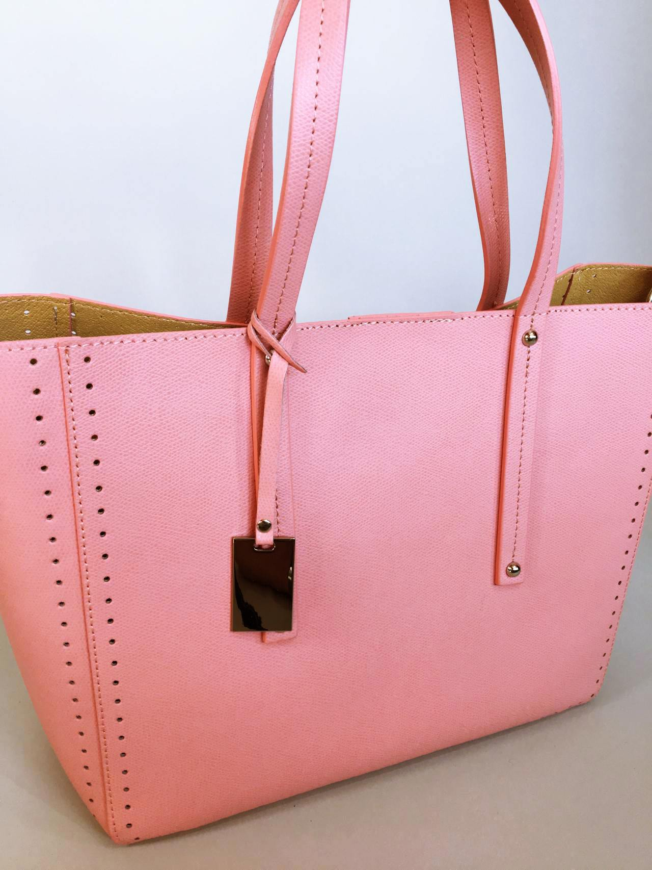Kožená kabelka Bia růžová 02