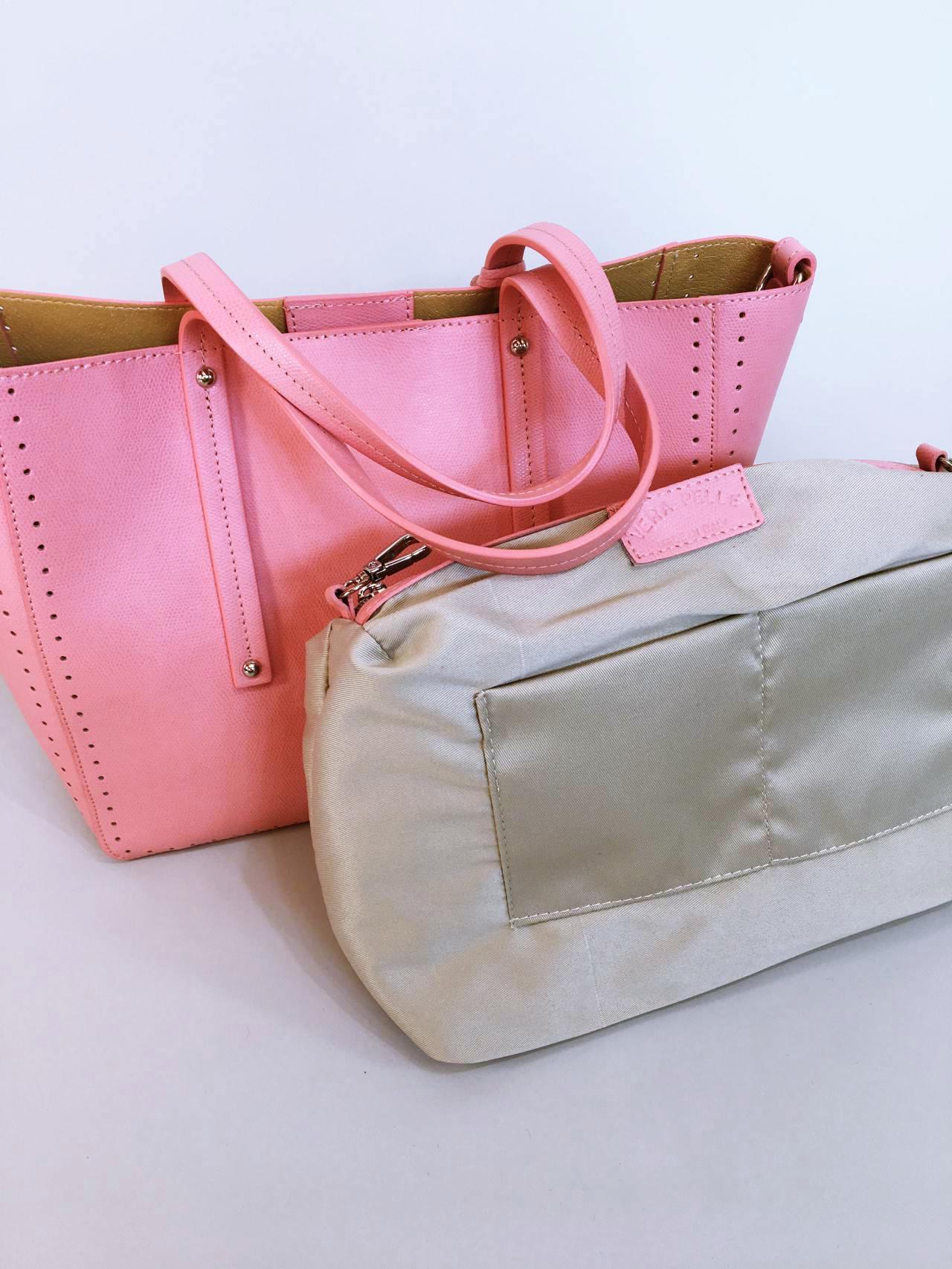 Kožená kabelka Bia růžová 07