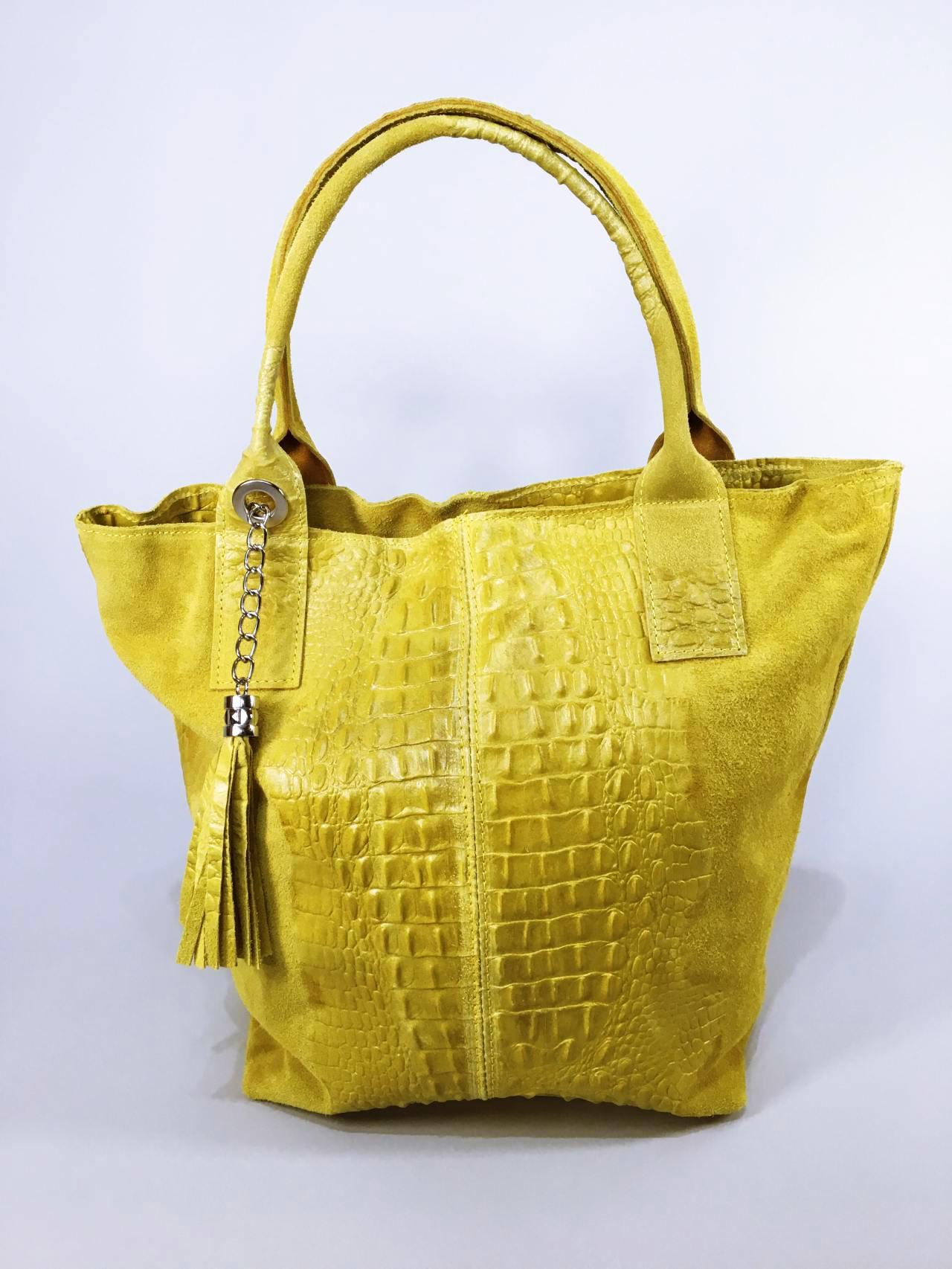 Kožená kabelka Cathrine žlutá 01