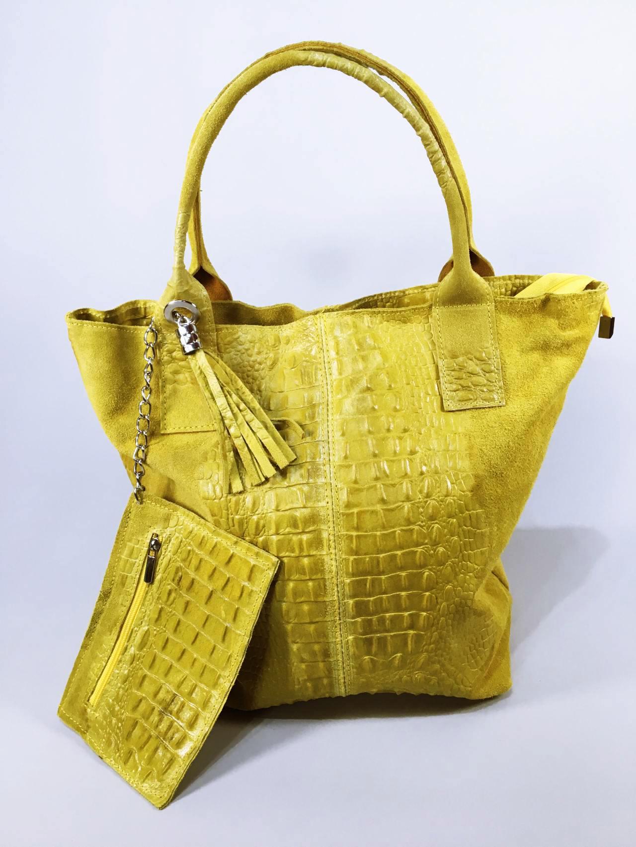 Kožená kabelka Cathrine žlutá 05