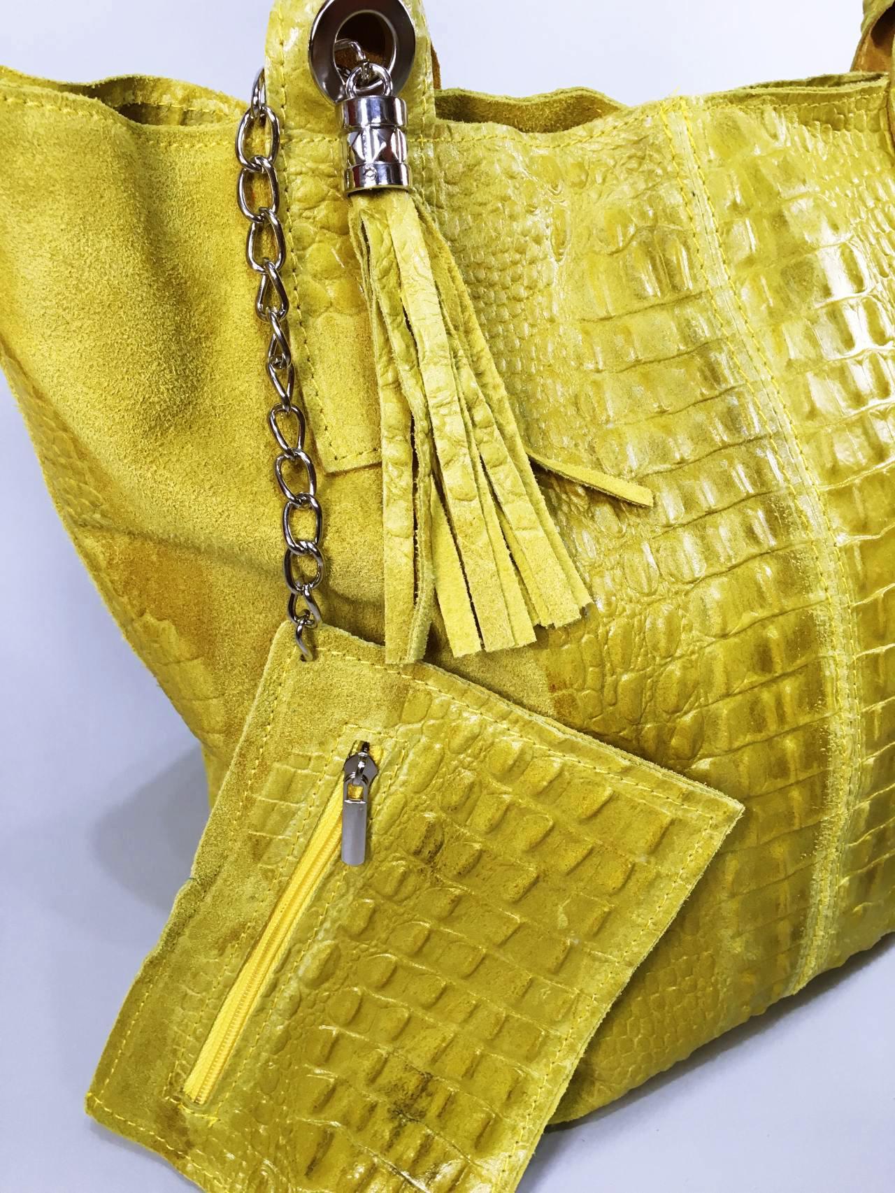 Kožená kabelka Cathrine žlutá 06
