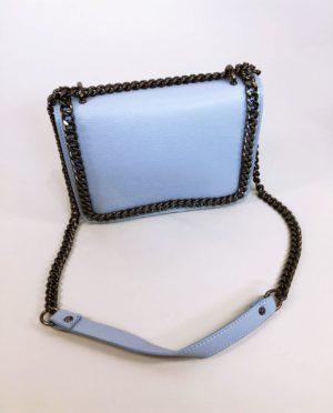 Kožená kabelka Donna světle modrá 01