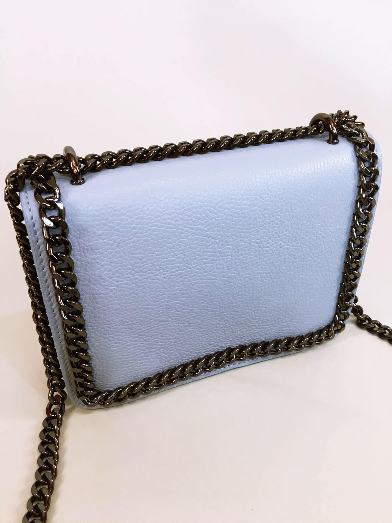 Kožená kabelka Donna světle modrá 02