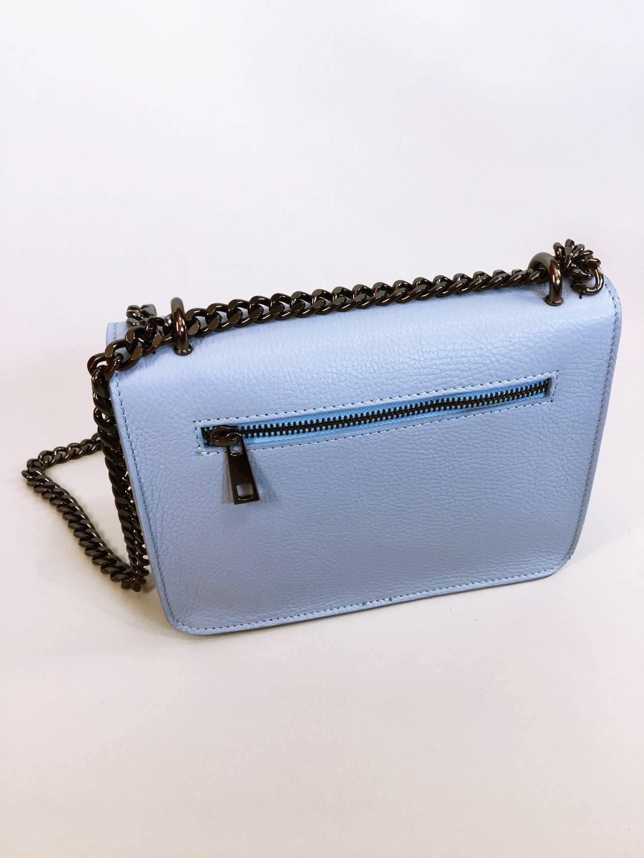 Kožená kabelka Donna světle modrá 03