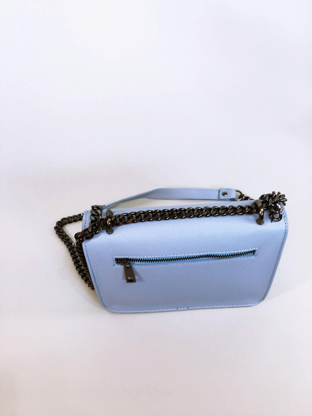 Kožená kabelka Donna světle modrá 04