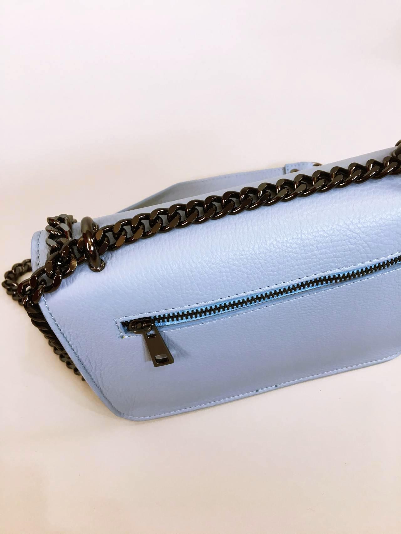 Kožená kabelka Donna světle modrá 05
